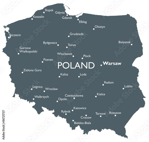 Fotografie, Tablou Poland map