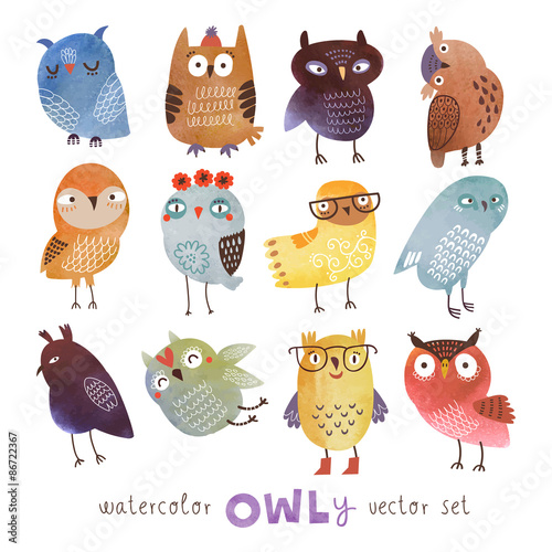 Tuinposter Uilen cartoon watercolor vector owls set