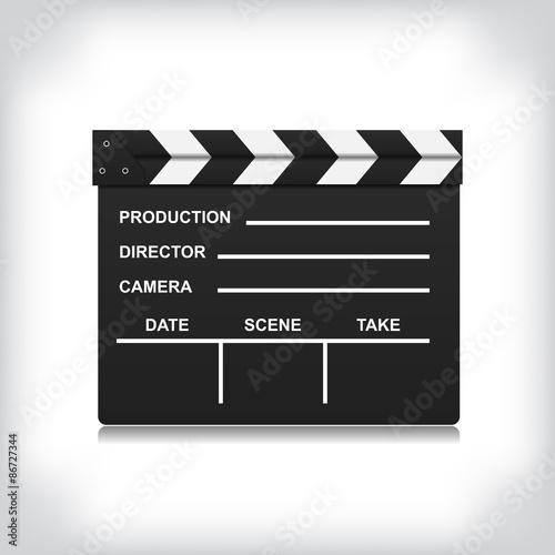 Slika na platnu Black closed clapperboard vector