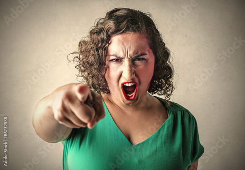 Angry woman judging someone Canvas Print