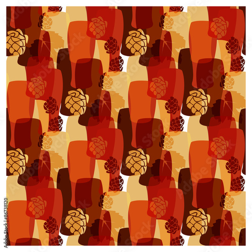 Photo Vector pattern with beer glasses, hops different warm colors of