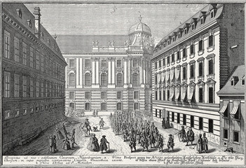 Wien, Spanische Hofreitschule um 1735, Kupferstich