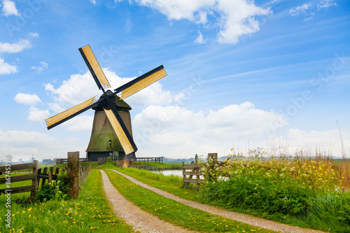 Fotografie, Obraz  Rural road and windmill in Netherlands