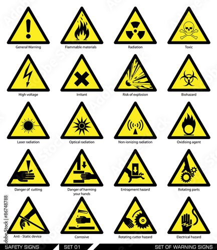 Set of safety signs. Caution signs. Collection of warning signs. Vector illustration. Signs of danger. Signs of alerts. Wall mural