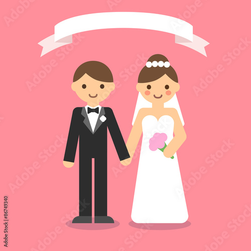 Happy Wedding Couple Holding Hands Cute And Simple Flat Cartoon Style Buy This Stock Vector And Explore Similar Vectors At Adobe Stock Adobe Stock