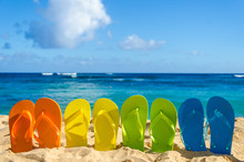 Colorful Flip Flops On The San...