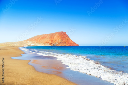 Fotobehang Canarische Eilanden La Tejita beach and El Medano mountain, Tenerife, Canary islands