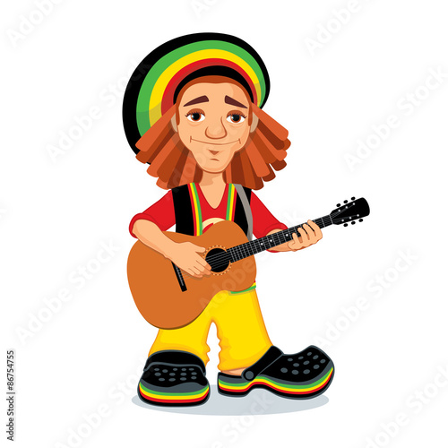Photo  Vector illustration of rastaman playing acoustic guitar
