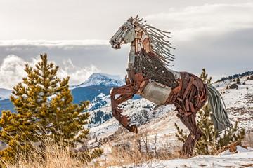 Fototapeta Industrialny Scrap Metal Rearing Horse