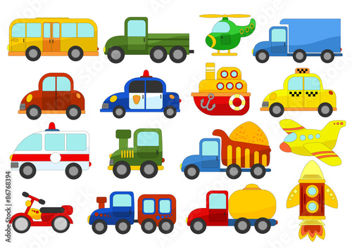 Staande foto Cartoon cars Set of different cars on white background