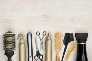 Hairdressing tools on woode...