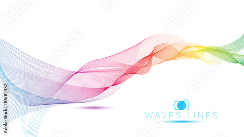 Photo  great rainbow waves colorful gradient light blend line vector