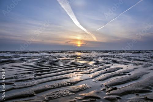 Foto op Aluminium Noordzee Sonnenuntergang an der Nordsee