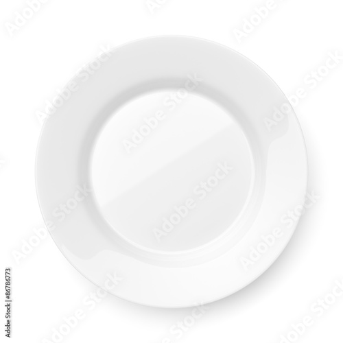 Fotografie, Obraz  Empty ceramic round plate isolated on white