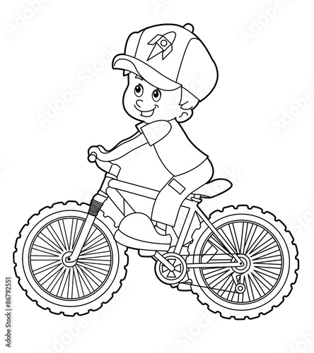 Cartoon Kid Riding Bicycle Coloring Page Stock Illustration Adobe Stock