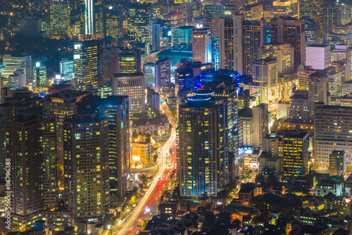 In de dag Seoel Downtown skyline of Seoul, South Korea