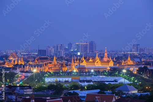 Wat Phra Kaew,Grand palace at twilight in Bangkok, Thailand Canvas Print