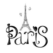 Hand Drawn Illustration With Eiffel Tower. Paris.