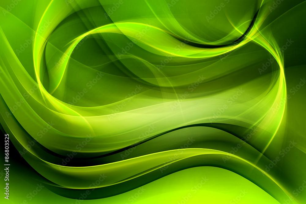 Fototapeta Creative Green Fractal Waves Art Abstract Background