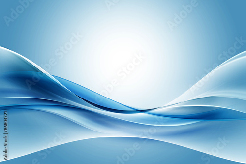 Obraz Creative Blue Fractal Waves Art Abstract Background - fototapety do salonu