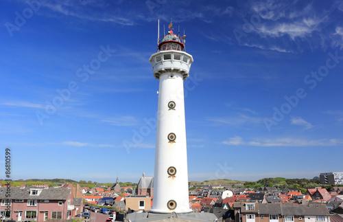 Montage in der Fensternische Leuchtturm Lighthouse in Egmond aan Zee. North Sea, the Netherlands.