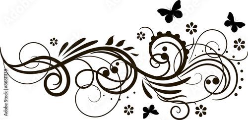Fotografía  Floral ornament with butterflies