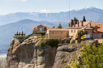 Fototapeta na wymiar Holy Monastery of Saint Stephen in Meteora mountains, Thessaly, Greece.  UNESCO World Heritage List