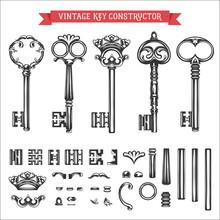Vintage Key Constructor. Old Keys Vector Set.