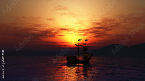 3D landscape of ship sailing on sea