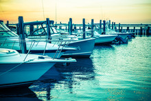 Colorful Sunset Toned Boats D...