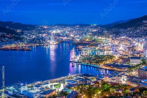 Nocny widok Nagasaki Fototapeta