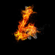 Number six fire on a black background