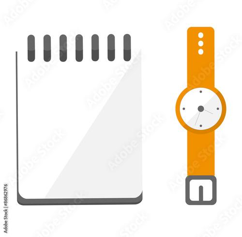 Fotografie, Obraz  Zarządzanie czasem: niezapisany notes i zegarek.