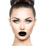 High fashion beauty model girl with black make up and long lushes - 86864993