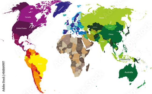 vector world map colored by continents - Buy this stock vector and ...