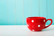 canvas print picture - Red polka dot coffee mug