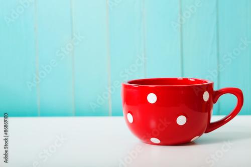 Fotografie, Obraz  Red polka dot hrnek na kávu