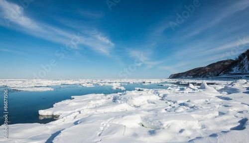 Poster Donkergrijs ice on sea