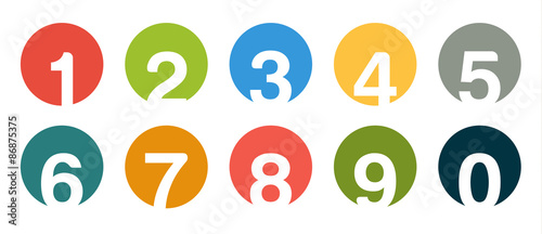 Cuadros en Lienzo  Collection of isolated round number icons for 0 - 9