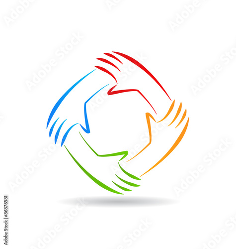 Vector Drawing Lines Unity : Teamwork unity hands logo buy this stock vector and