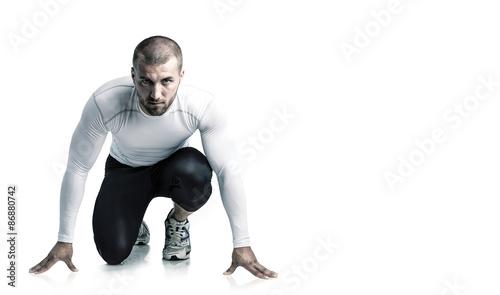 Fotomural Attraktiver Athlet ist startbereit