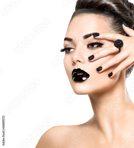 Fotografie, Obraz  Beauty model girl with black make up and long lushes