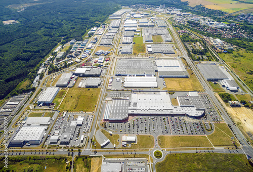 Staande foto Industrial geb. Aerial view to industrial zone and technology park on Bory suburb of Pilsen city in Czech Republic, Europe.
