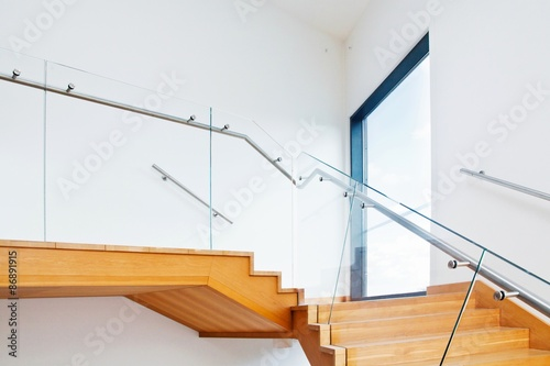 Fotomural Modern architecture interior with wooden stairs