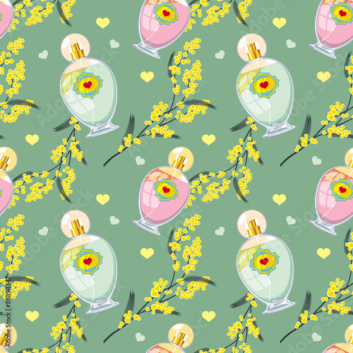 Cotton fabric Seamless pattern with perfume bottle