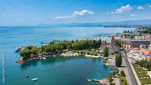 Aerial view of Leman lake -  Lausanne city in Switzerland Canvas Print