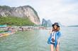 Woman happy when her travel to Phang Nga Bay