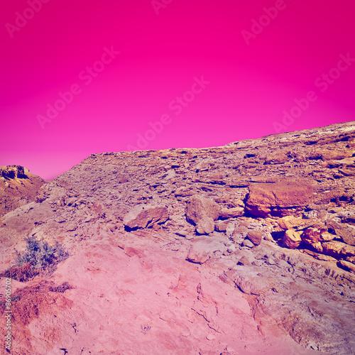 Spoed Fotobehang Roze Desert at Sunset