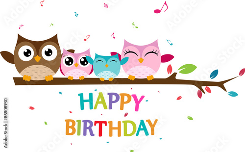 Photo Stands Owls cartoon Happy owl family celebrate birthday