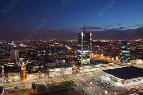 plakat Warszawa Centrum w nocy w Polsce